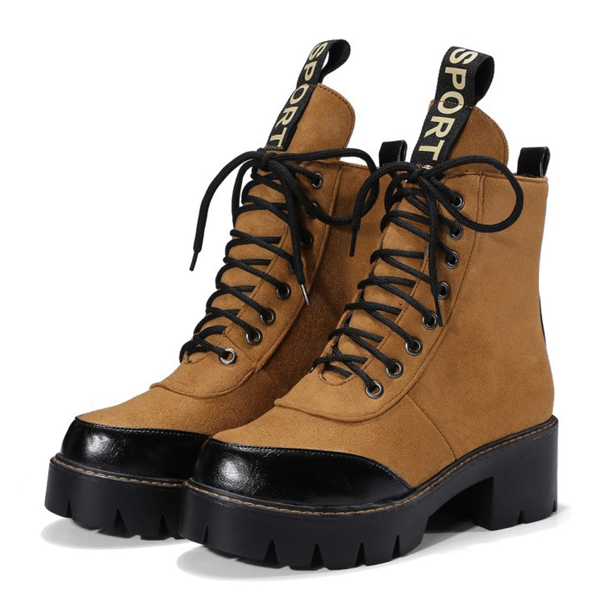 Mujer Martin Botas Caballo Zapato Cuadrado Zapatos Zapatos Zapatos de tacón Grueso Zapatos con Cordones Zapatos Hechos a Mano Impermeables en Zapatos para Caminar al Aire Libre,A,39EU 34940c