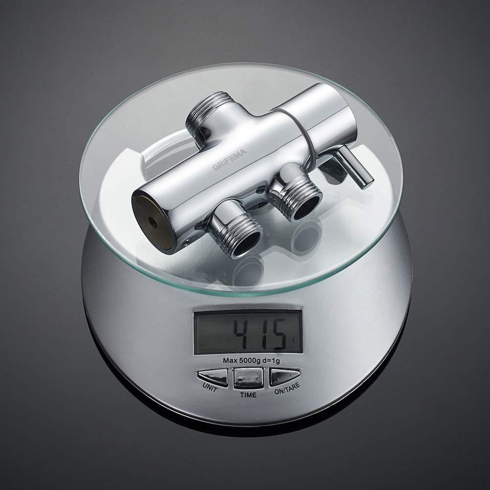 COLUMNAS Columna de ducha termost/ática cuadrada GRIFEMA G7001 manguera de ducha y soporte Cromo Sistema de ducha con ducha de mano de 3 funciones 1//2 pulgada
