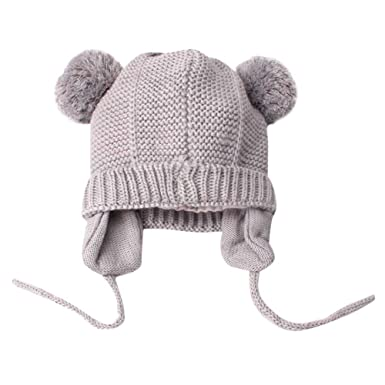 b2840ecacbd Cute Toddlers Baby Boys Girls Bobble Knit Beanie Hat Plush Ball Ears Winter  Warm Double Pompom Earflap Cap (Gray)  Amazon.co.uk  Clothing