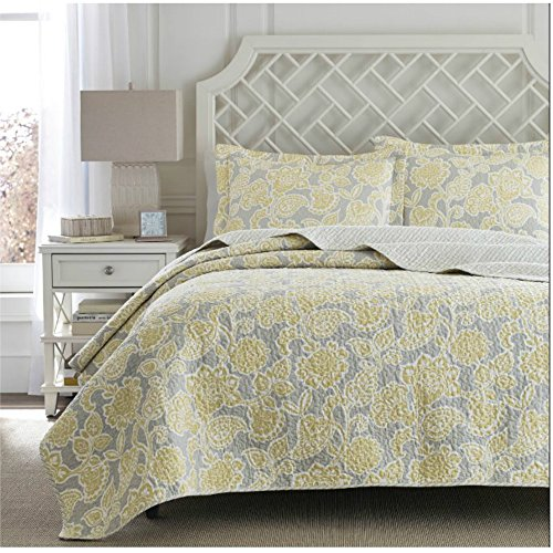 Modern Lightweight Yellow / Gray Floral Design Bedding Coverlet Quilt Set For Contemporary Bedroom - Full / Queen Size