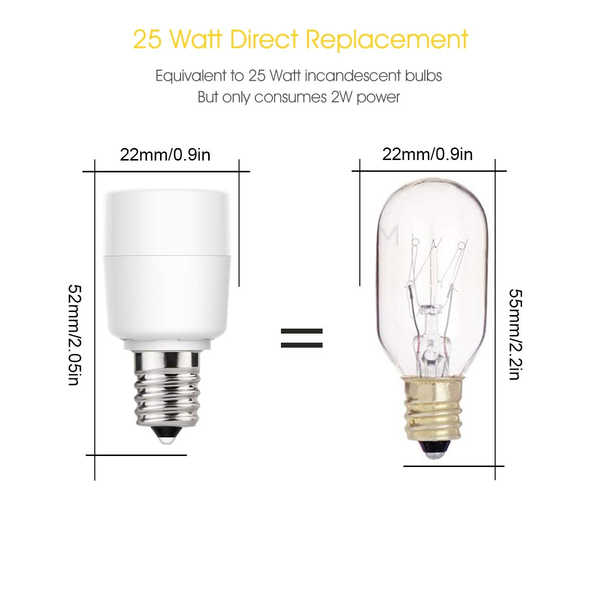 25W Equivalent Light Bulb Non Dimmable Pack of 6 LEHASI E12 Candelabra Base 2W LED Bulb Bedroom Daylight White 5000K Mini LED Bulb Porch Home Lighting 200LM Lamp Light for Night Light