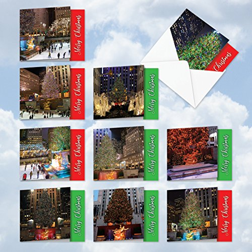MQ4958XSG-B1x10 NYChristmas: 10 Assorted 'Square-Top' Christmas Note Cards Featuring Sparkling Images of Scenic New York at Christmas; With Envelopes.