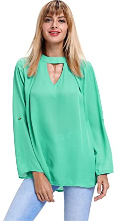 Arctic Cubic Sexy Long Sleeve Choker Deep V Neck Cut Out Keyhole Back  Curved Hem Chiffon Blouse Shirt Top at Amazon Women s Clothing store  e012ee3ff