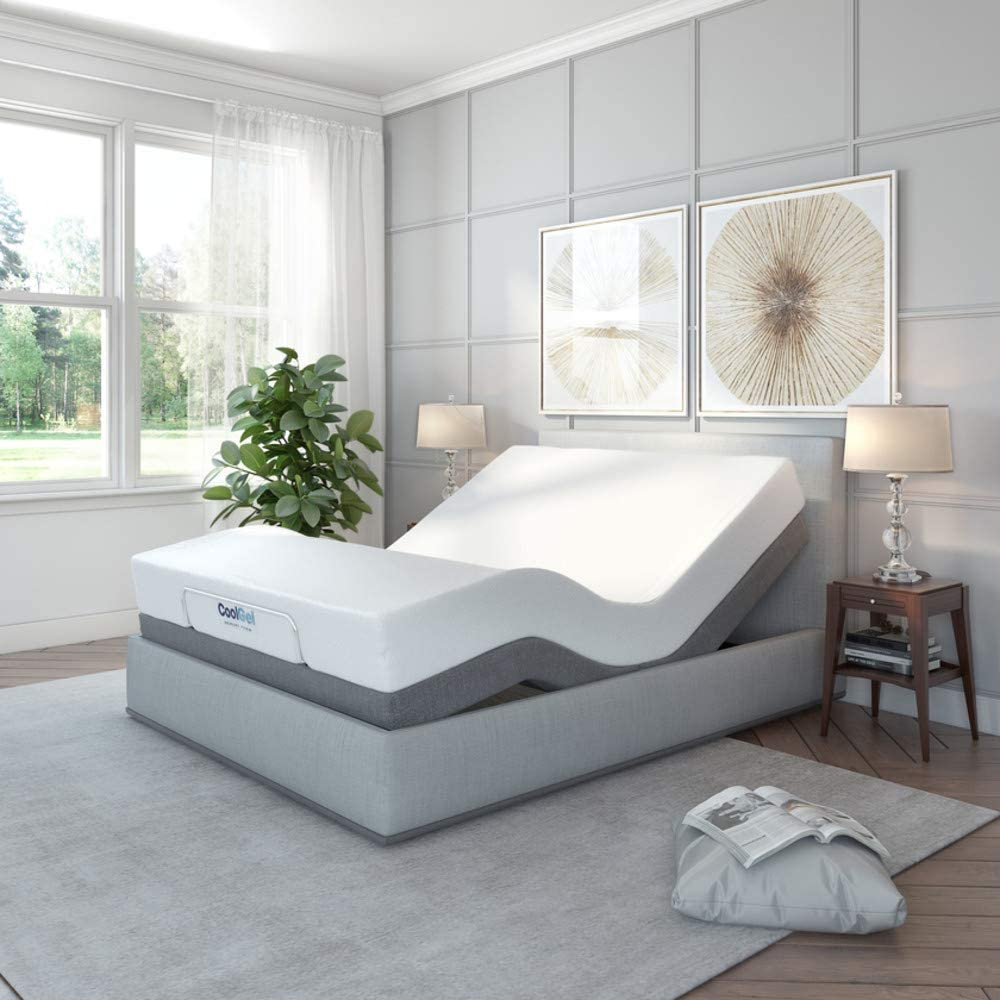 Classic Brands Cool Gel Ventilated Gel Memory Foam 10-Inch Mattress with Adjustable Comfort Upholstered Adjustable Bed Base with Massage, Remote, Three Leg Heights, and USB Ports Full