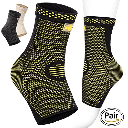 Pure Support Ankle Brace Sleeves with Best Compression – Effective Foot Pain Relief from Heel Spurs & Plantar Fasciitis – One Pair Socks for Womens, Men & Kids – Comfortable Fit & Highly Breathable