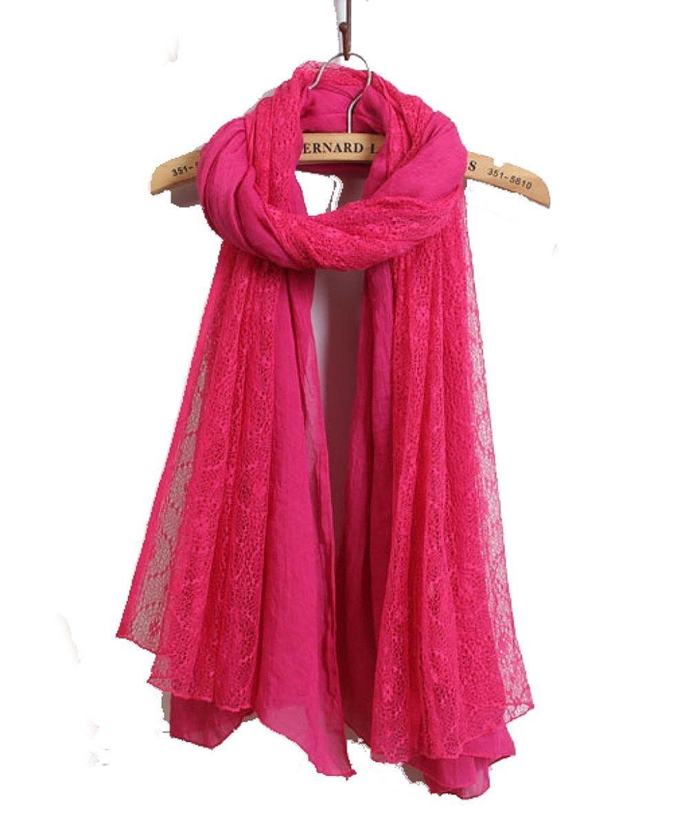 LadyMYP 125cmX190cm Einfarbiger Schal Stola aus Baumwolle und Hochwertiger Spitze, Mehrere Farben zur Wahl LadyMYP_125X190_CXZ
