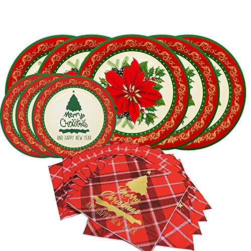 Christmas Flower Disposable Paper Dinnerware Set-Serves 50- Includes 10 Inch Poinsettia Paper Dinner Plates, Vintage Dessert Plates and Paper Napkins (Printed Paper Wood Plates)