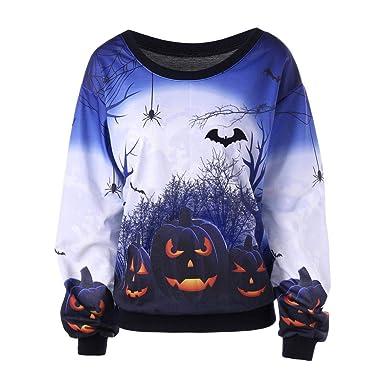 b41fe82c13b Yusealia Womens T-Shirts Halloween Print O Neck Long Sleeve Casual  Sweatshirt Autumn Summer Blouse Crop Tops Tunic Tops for Ladies Teen Girls  Outwear Jumper ...