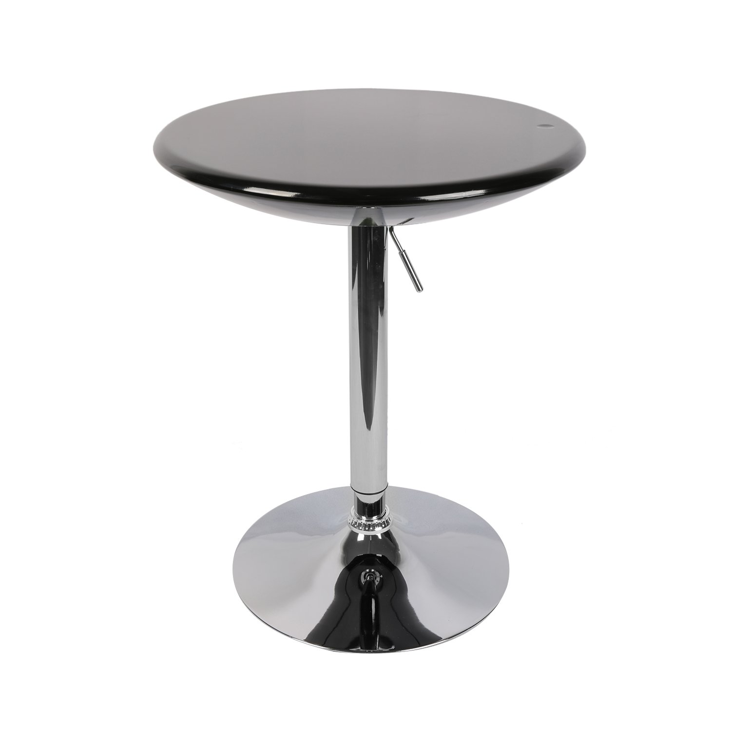 LCH Adjustable 360 Swivel Dining Bar Table Modern Round Kitchen Home Bar Furniture ABS Top Bistro Pub Table with Chromed Base, Black by LCH