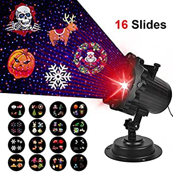 Comkes Projector Laser Light Christmas,16 Switchable Patterns with Remote Control, Timer Show Landscape Light, Waterproof LED Spotlight Rotating for Home Birthday Hallowmas Wedding Party Decoration