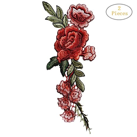 2PC DIY Floral Embroidered Roses Flower Collar Sew Patch Sticker Applique Badge