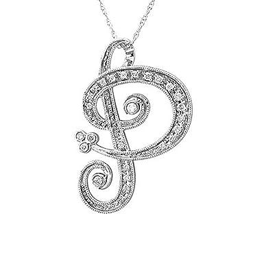 Amazon 14k white gold alphabet initial p white diamond 14k white gold alphabet initial p white diamond pendant necklace 013 carat mozeypictures Gallery