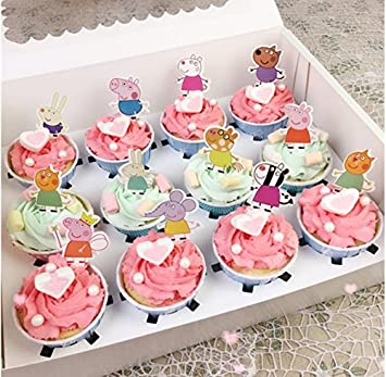 Stupendous El Set Of 48 Pieces Peppa Pig Cupcake Topper Peppa Pig Theme Funny Birthday Cards Online Overcheapnameinfo
