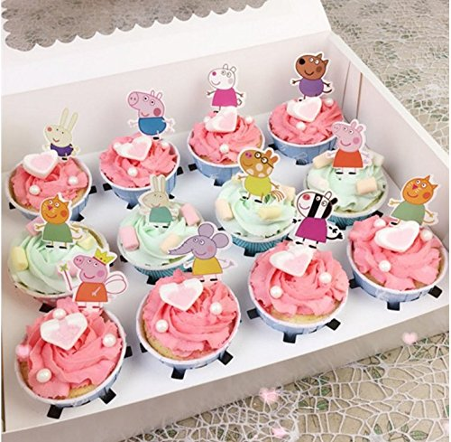 Set of 48 Pieces Peppa Pig Cupcake Topper, Peppa Pig Theme Party Decorative Cupcake Topper For Sweet Heart Birthday -