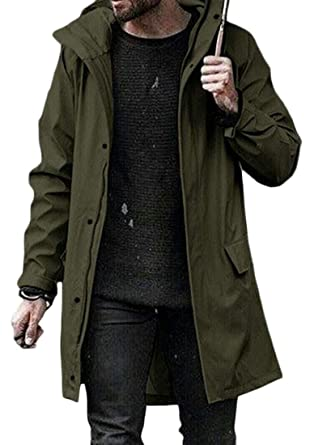04799d8eb XXBlosom Men Loose Hooded Overcoat Zipper Up Solid Jacket Big and ...