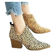 Soda Women/'s Sugar Tan Strappy Studded V Split Stacked Heel Ankle Boot
