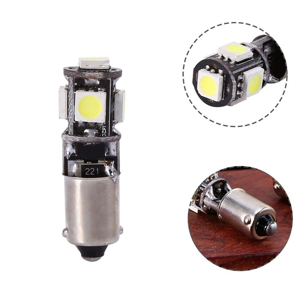 Qiilu QL37207 2x bianco H6W BA9S LED 5 SMD Canbus errore gratuito segnale di lettura angolo mappa lampadine