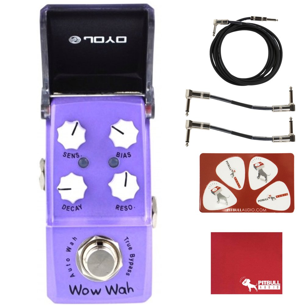 Joyo JF-322 Ironman Mini Wow Wah Auto Wah Guitar Effects Pedal with Polish Cloth, Pick Card, Patch Cables, and 10 ft Cable by JOYO