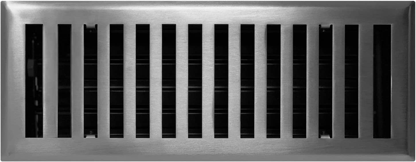 """Madelyn Carter Contemporary Solid Brass 4"""" x 12"""" Floor Vent Cover, Brushed Nickel"""