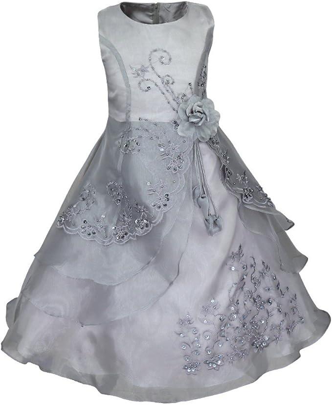 Amazon.com: TiaoBug - Vestido bordado con flores para niñas ...
