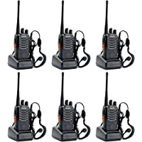 RENMAX BF888S Walkie Talkie UHF 400-470 MHz Two Way Long Range Amateur Radio with Earpiece 16Ch Black - 6Pack