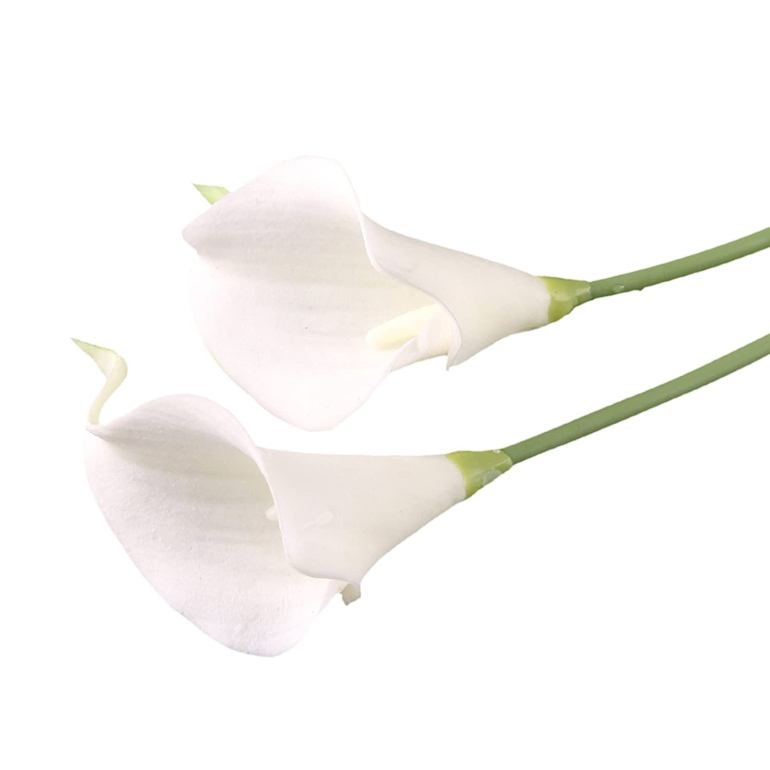 10pcs Calla Lily Bridal Wedding Bouquet head Latex Real Touch Flower Bouquets (KC51 White) Artifical Flower