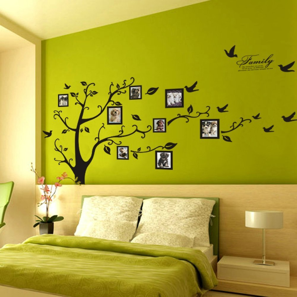 Picture frame family tree wall art tree decals trendy wall designs - Amazon Com Picture Frame Tree Removable Wall Decor Decal Sticker Black 1 Home Kitchen