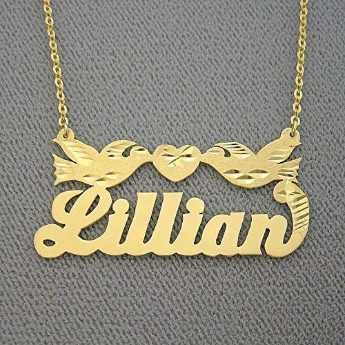 Name Necklace Solid 14k Gold Personalized Nameplates Diamond Cut Two Loving Birds with Heart