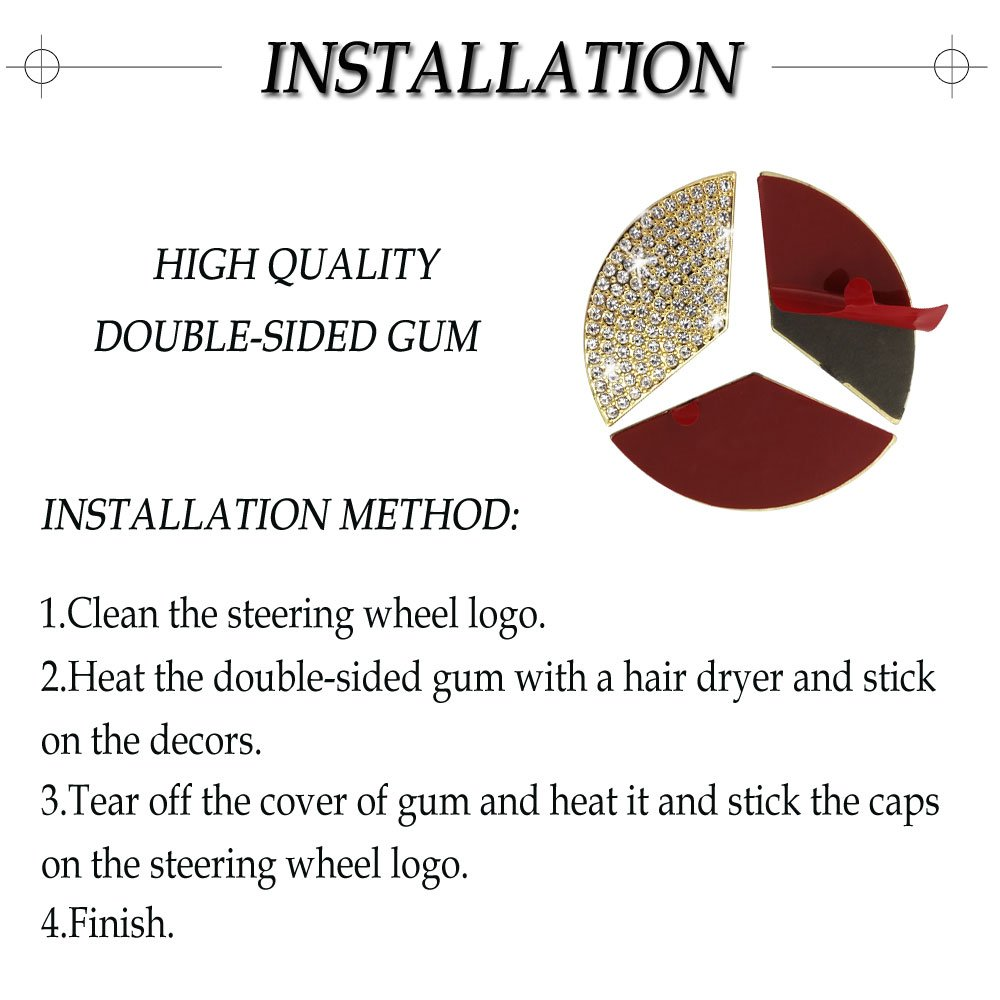1797 Mercedes Accessories Benz Parts Trim Steering Wheel Logo Emblem Badge Decal Interior Visors Decorations W205 W212 W213 C117 C E S CLA GLA GLK Class AMG Women Bling Crystal Silver 45mm 3pcs