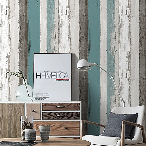 Blue Texture Wallpaper - HaokHome H006 Wood Panel Peel and Stick Wallpaper 23.6