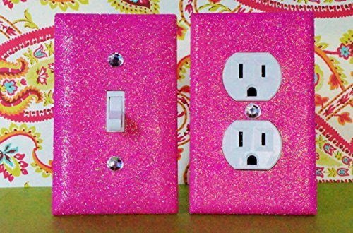 BREEZY PINK Glitter Switch Plate & Outlet Covers. Set of 2. ALL Styles Available! GIRLS ROOM DECOR / TEEN ROOM GIRL'S BEDROOM DÉCOR (Decor Batroom)