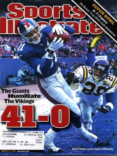 Sports Illustrated January 22 2001 Amani Toomer/Minnesota Vikings Cover, Super Bowl XXXV, Trent Dilfer/Baltimore Ravens, Jerry Stackhouse/Detroit Pistons, St. Louis Blues/Stanley Cup, Eddie Griffin/Seton Hall