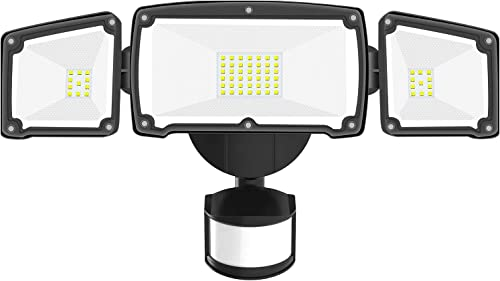 Motion Sensor Light Outdoor, BEACON LED Security Lights Motion Outdoor, 42W 4000LM Dusk to Dawn Flood Light with 3 Head Waterproof IP65, ETL Certified for Yard, Garage, Garden, Porch