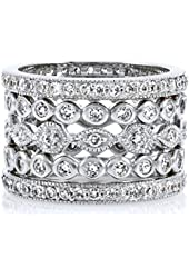 Zola's Set of 5 Stackable Rings - Silvertone