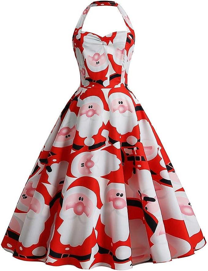 Weihnachtskleid Damen Kleider Frauen Retro Exquisit Hangender Hals Schneemann Drucken Vintage Christmas Dress Weihnachtspullover Weihnachten Abendkleid Spitzenkleid Partykleid Swing A Linie Kleid Amazon De Bekleidung