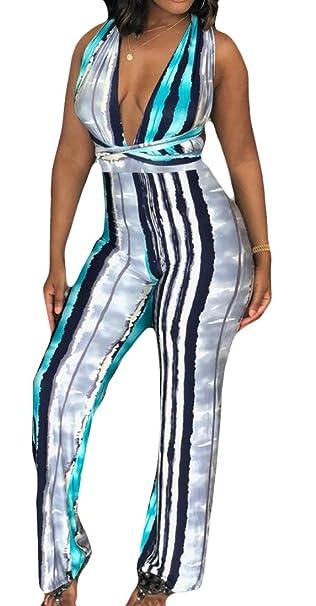 4ba977e35900 YYear Women s Sexy Print Deep V-Neck Wide Leg Palazzo Pants Jumpsuits  Rompers Blue XS
