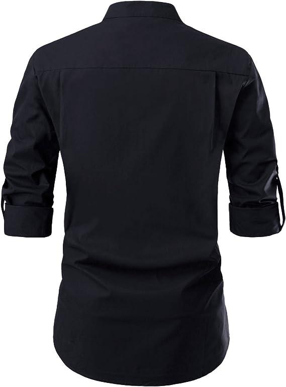 NEARKIN Mens Long Sleeve Mandarin Collar V Neck No Button Cotton Shirts