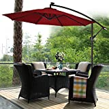 TANGKULA 10′ Patio Umbrella Hanging Solar LED Sun Shade Market Umbrella with Base (Burgundy) Review