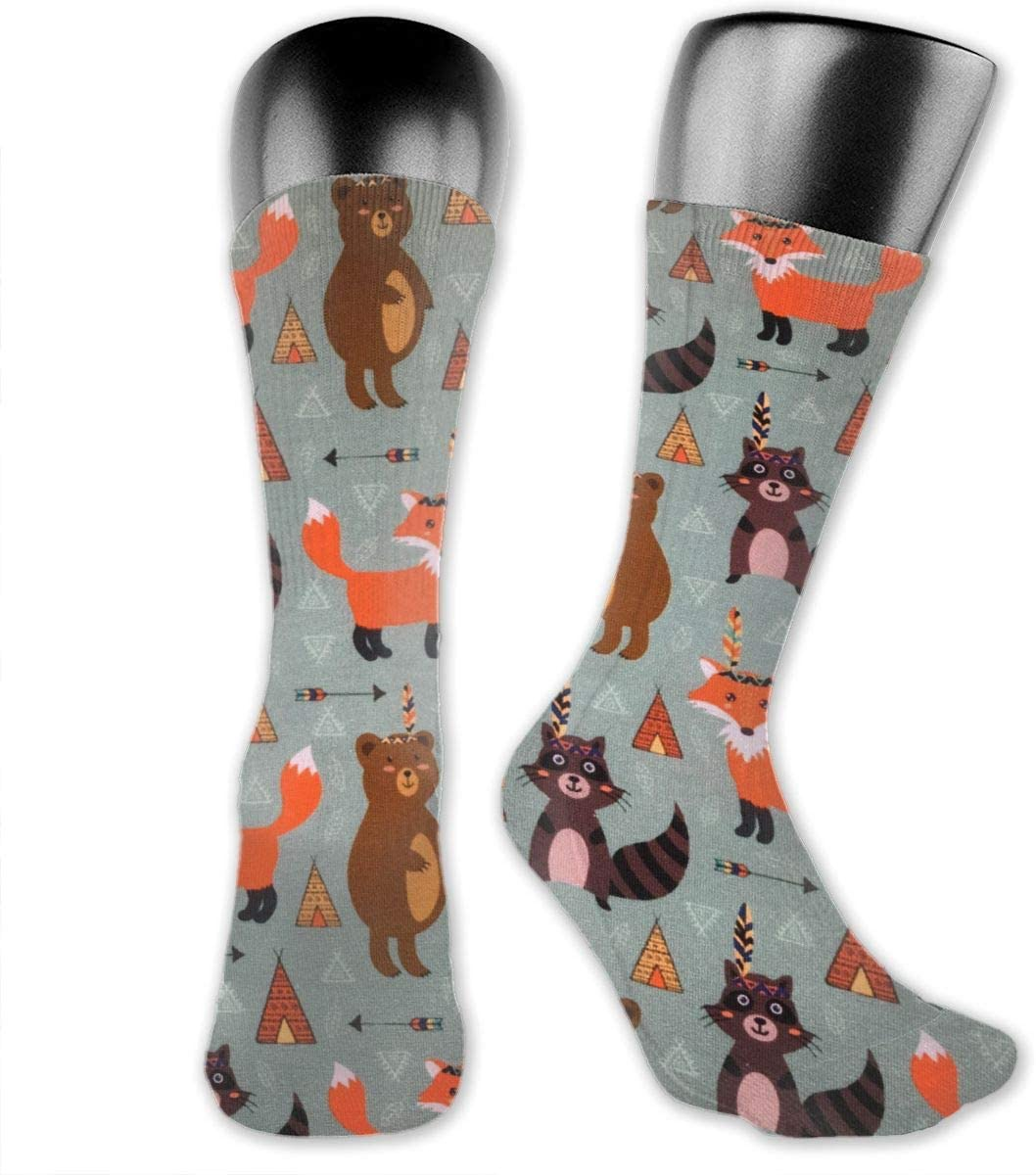OLGCZM Cartoon Fox Bear Men Womens Thin High Ankle Casual Socks Fit Outdoor Hiking Trail