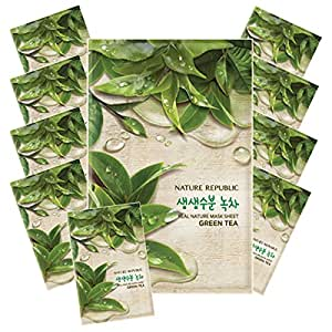 Nature Republic Real Nature Mask 10 Sheets for Skin Hydration (Green Tea)