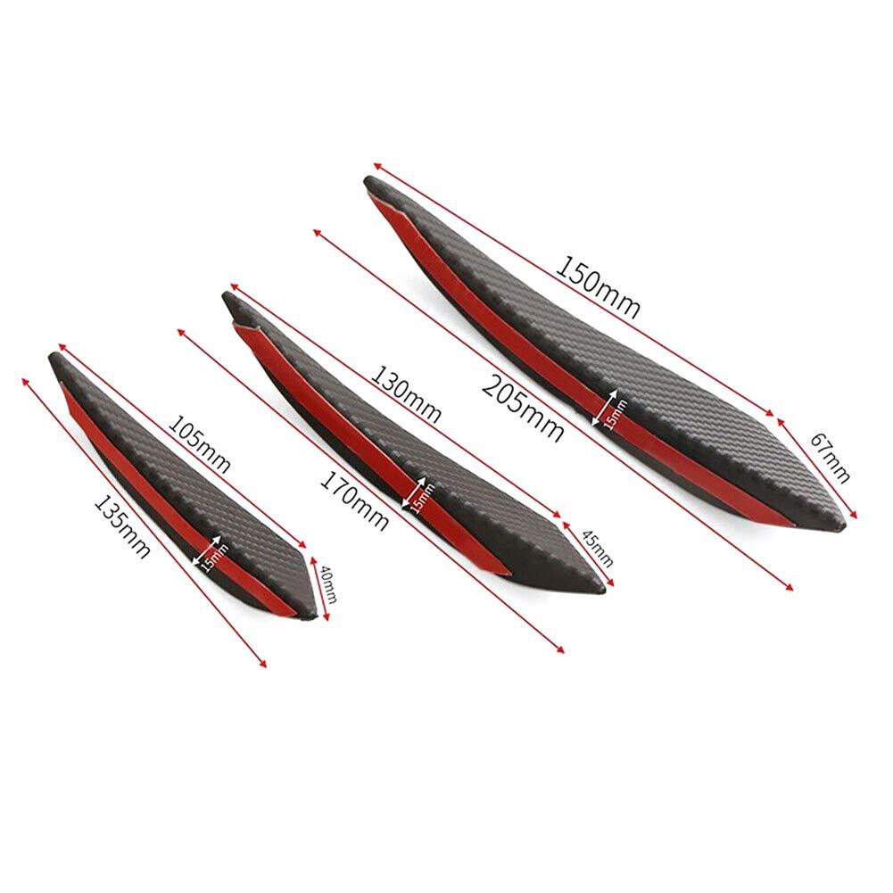 Lin XH 6pcs carbone universel modification pare-chocs arri/ère l/èvre Diffuseur Splitter Canard Protector