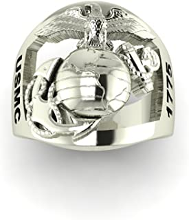 product image for Continuum Sterling Silver Marine Corps Ring with Open Back Eagle Globe and Anchor, USMC and SGT Rank MR10