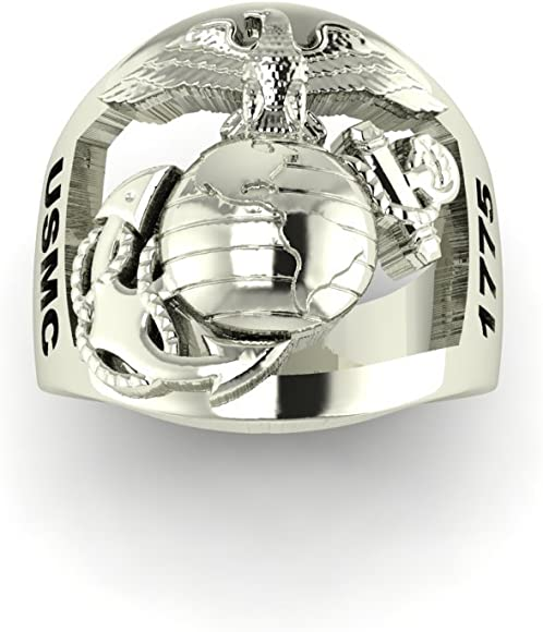 Continuum Sterling Silver USMC Mens Ring with Open Back Eagle Globe and Anchor Plain MR10