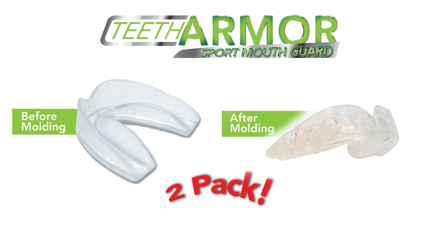 Teeth Armor Professional Sport Mouth Guards- 2 Pack - No BPA - Safe Clear Color - No Color Additive - Athletic Teeth Mouth Guards - Fit Any Mouth Size - Custom Fit - Free carrying case included by Teeth Armor