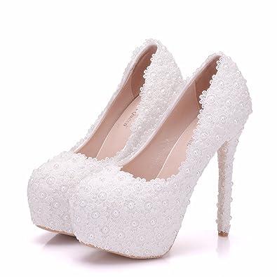 Damenschuhe Spitze Pearl Crystal Heiraten Kleid High Heel Dünne Schuhe, 38, Rosa 10 cm LEIT