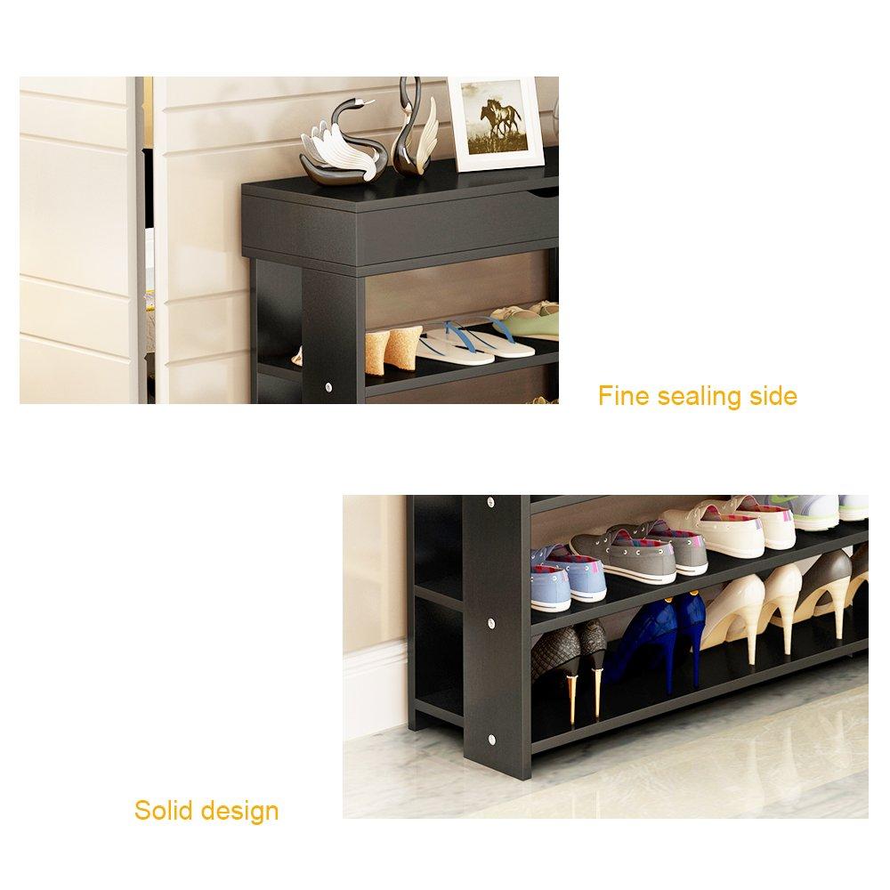 soges Estante para Zapatos de 5 Gradas de Madera S/ólida Estante de Almacenamiento de Zapatos Organizador para Cosas de Color de la Negro L24-BK