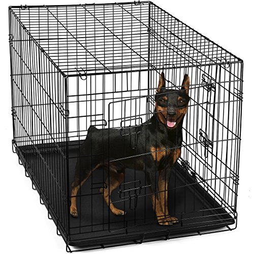 OxGord-24-Inch-Folding-Metal-Pet-Crate-with-Double-Door-and-Divider