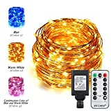 ER CHEN(TM) Dual-Color LED String Lights Plug In with Remote, 72Ft 200 LED Copper Wire Fairy Lights 8 Modes Color Changing Decorative Lights with Timer for Bedroom,Patio,Garden,Yard-Warm White&Blue