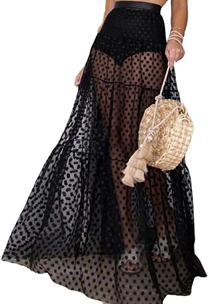 dahuo - Falda Larga para Mujer (Talla Grande), diseño de Lunares ...