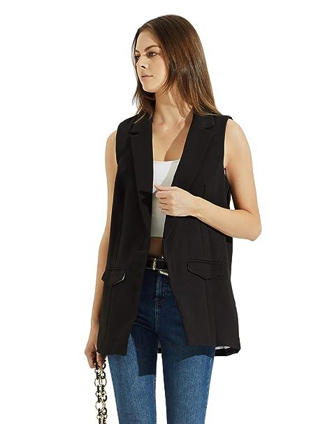 Amazon.com: Floerns - Blazer sin mangas con bolsillos para ...